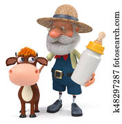 3d illustration the farmer stands with a funny calf