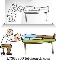 chiropraktiker, hals, einstellung