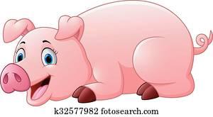 Clipart heureux ferme cochon k33524617 recherchez - Dessin cochon debout ...