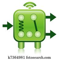 Green Wireless Relay Concept Icon