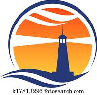 leuchtturm, symbol, an, sonnenuntergang