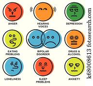 Mental health problems icons