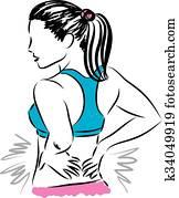 woman back pain illustration