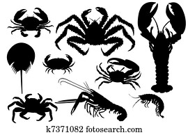Collection of lobsters silhouette