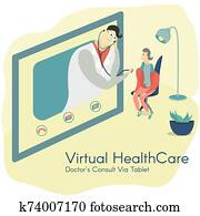 Doctor Consulting Patient Via Tablet