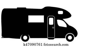 Medium RV Camper Van Silhouette