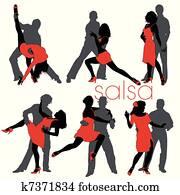 salsagruppe, silhouetten, satz