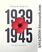 World War II commemorative poster with poppy flower.