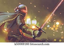 astro-knight in futuristic armor holding magic sword