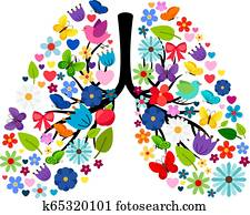 Butterflies and spring flowers in shape of human lungs