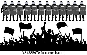 Crowd of protesters with flags against the police. Silhouette vector illustration
