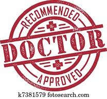 doktor, genehmigt, briefmarke