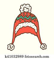 b1493574185a Clip Art of Knitted woolen red cap with snow goggles. Winter ...