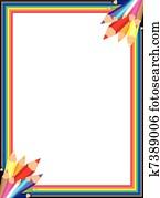 Rainbow Pencil Vector Border