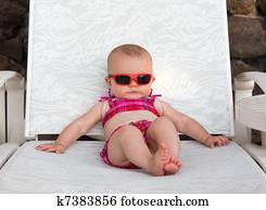 Serious beach baby