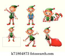Funny cartoon elf illustration collections