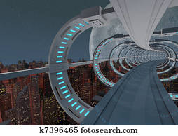 Futuristic city bridge