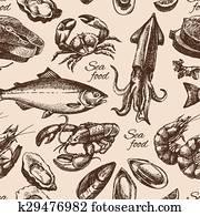 hand, gezeichnet, skizze, meeresfrüchte, seamless, pattern., altmodisch, stil, vektor