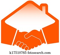 handshake with roof icon