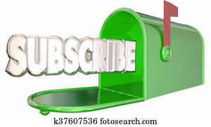Subscribe Word Mailbox Sign Up Newsletter Info 3d Illustration