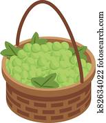 Green grapes basket icon, isometric style