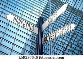 Marketing, sales, advertisement - crossroads sign, office building