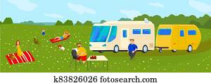 People travel in trailer vector illustration, cartoon flat happy family with kids or friends travelers cooking grill picnic food, sunbathing