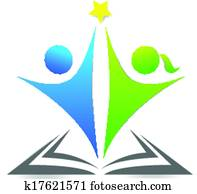 Book and children graphic logo