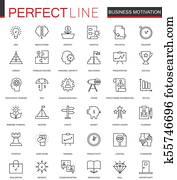 Business motivation thin line web icons set. Discipline organization outline stroke icons design.