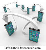 Connected Smart Phones Cell Phone Communication Links