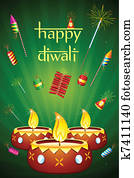 Diwali Diya with Fire Cracker