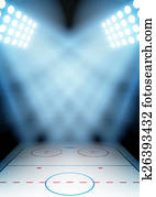 Background for posters night ice hockey stadium in the spotlight.
