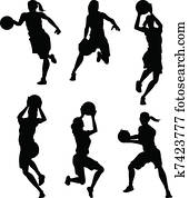 Basketball Female Women Silhouettes