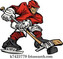 Cartoon Hockey Player Skating Vecto