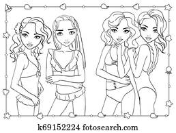 Coloring Book Girls In Bathing Suits And Bikini