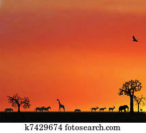 illustraion of animals in sunset in africa