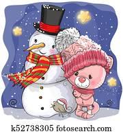 Snowman and Cute Cartoon kitten girl