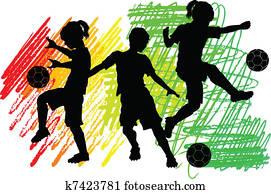 Soccer Silhouettes Kids Boys Girls
