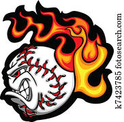 Softball or Baseball Face Flaming V