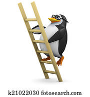 3d Penguin climbs the ladder