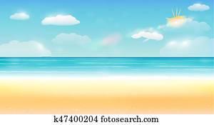 bright summer sky sea sand beach background