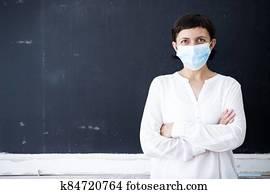 Coronavirus pandemic - Back to school concept.