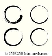 Enso, zen, bürste streicht, schwarze tinte, vektor, satz