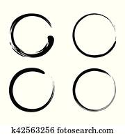 Enso Zen Brush Strokes Black Ink Vector Set
