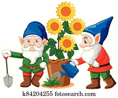 Gnomes with flower pot in cartoon style on white background