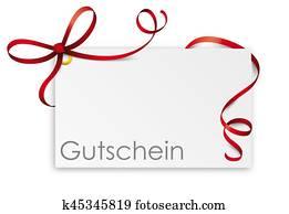 Gutschein Card Red Ribbon Bow