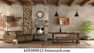 living room with fireplace in rustic style