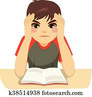 Teenage Boy Studying Hard