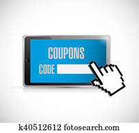 coupon code and cursor illustration