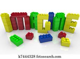 Imagine Word in Toy Plastic Blocks Idea Creativity